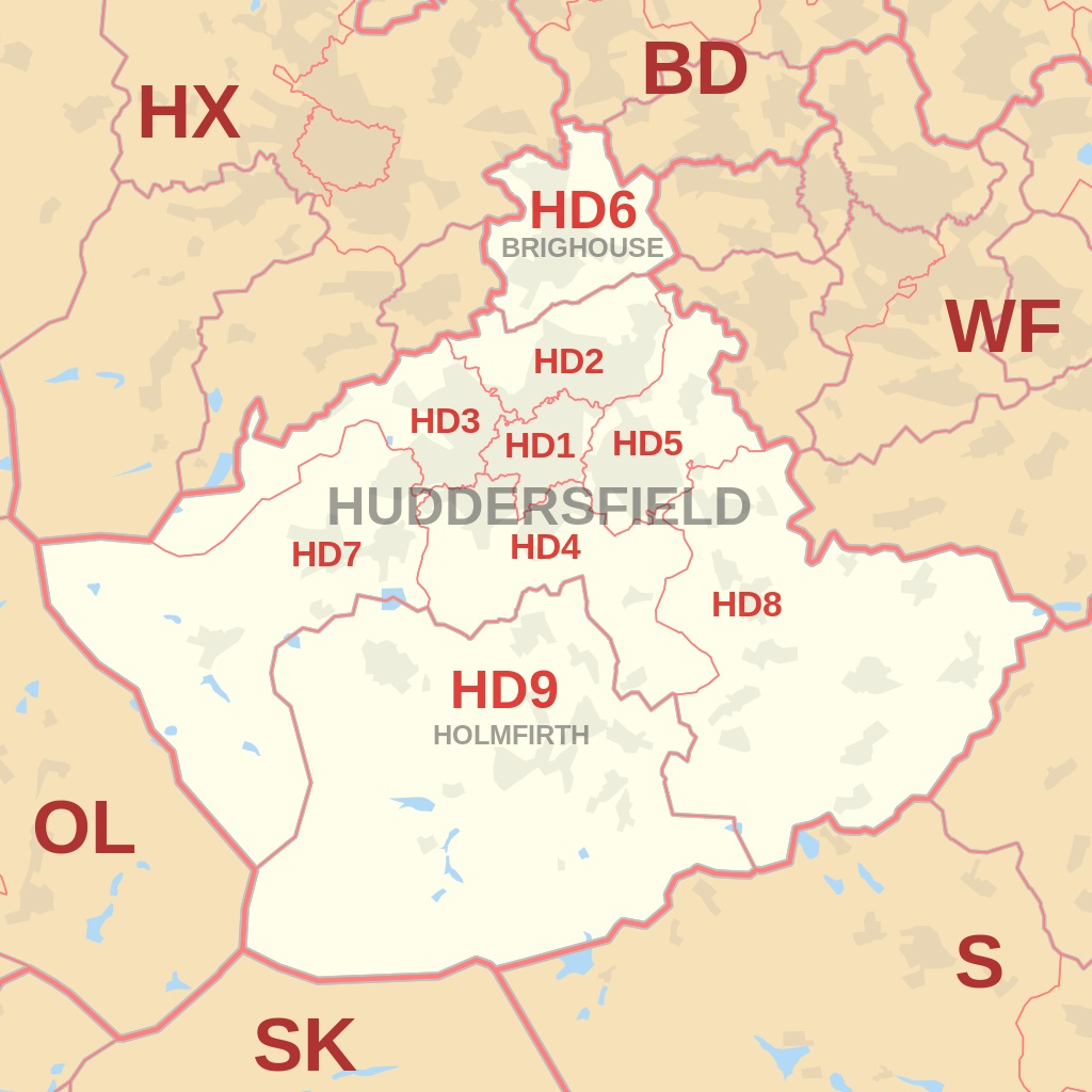 Huddersfield and HD postcode area map